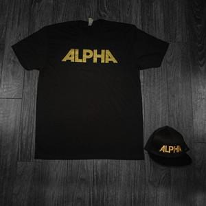 ALPHA Bundle - Black Shirt w/ Gold Text - Black Hat w/ Gold Text