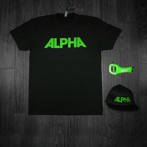 Black Alpha Tee + Hat with Green Lettering + Green Juiced Watch