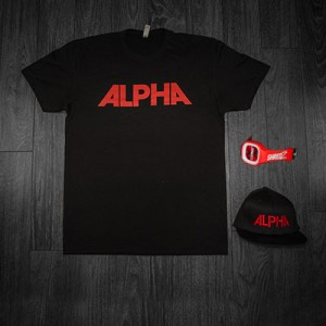 Black Alpha Tee + Hat with Red Lettering + Red Juiced Watch
