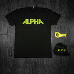 Black Alpha Tee + Hat with Yellow Lettering + Yellow Juiced Watch